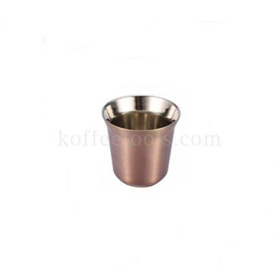 ถ้วยกาแฟเอสเพรสโซ่สแตนเลส 2 ชั้น (80 ml) สีทองแดง