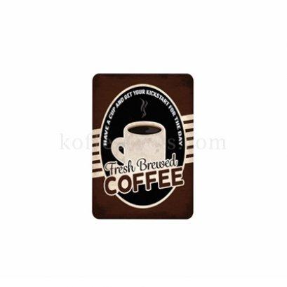 ป้ายสังกะสี ลาย Fresh Brewed coffee