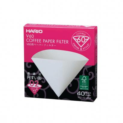 กระดาษกรอง Hario 02 สีขาว 40 แผ่น / HARIO(031)V60 Paper Filter 02 W 40 Sheets/VCF-02-40W