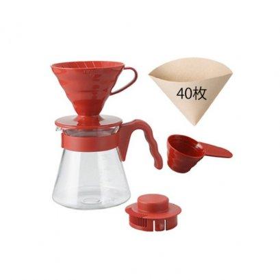 ชุดดริป Hario 02 สีแดง / HARIO(035)V60 Coffee Server 02 Set Red/VCSD-02R