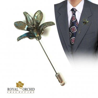 เข็มกลัดเงินสไตล์โบราณ เข็มกลัดดอกกล้วยไม้หวายพันธุ์เล็ก (Miniature Dendrobium)