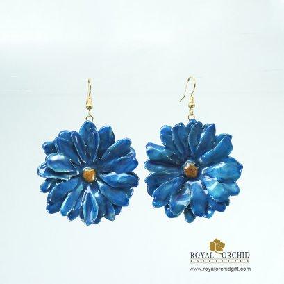 ต่างหูดอกแอสเตอร์สีน้ำเงิน - Aster Reagan Earring