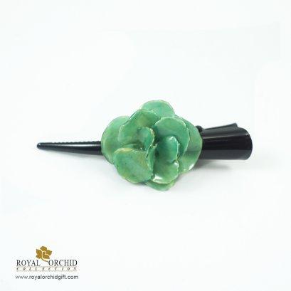 กิ๊บติดผมดอกไฮเดรนเยียประกอบ (Compound Hydrangea) สีเขียว