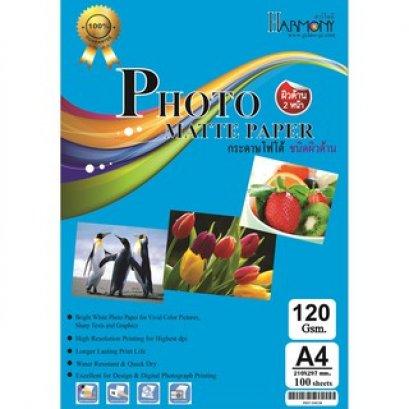 กระดาษโฟโต้ผิวด้าน 2 หน้า 120 แกรม (บรรจุ 100 แผ่น)