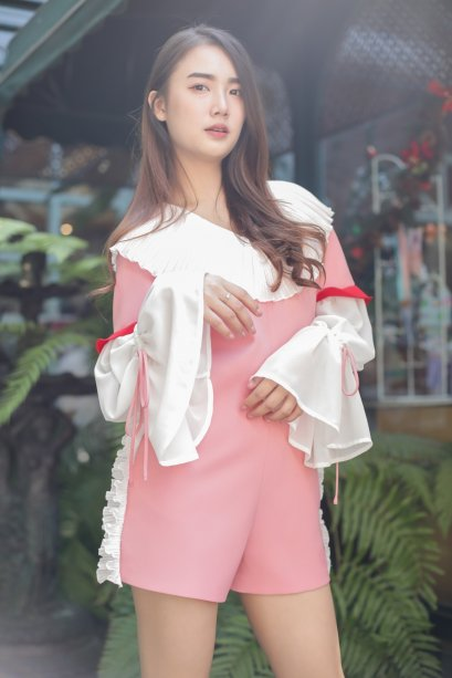 CN03 - Rosy Pink with Pleat Romper - In Stock Now