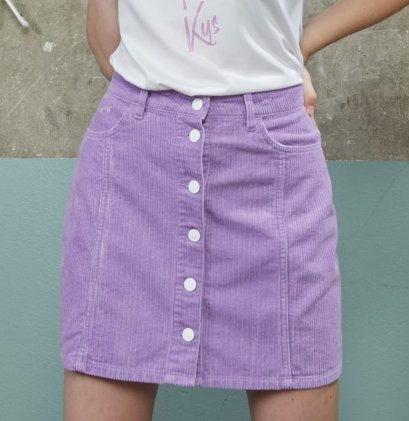DM06 - Misty Lilac Corduroy Mini Skirt - In Stock 15th Dec