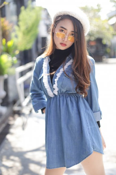 DM13 - Blue Denim Shirt Mini Dress - In Stock Now