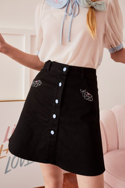 JR06-BLK-Juliet's Rose Embroidered Front Button A-Line Skirts - In Stock Now
