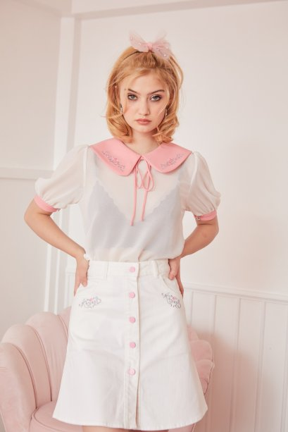 JR06-WH-Juliet's Rose Embroidered Front Button A-Line Skirts - In Stock Now