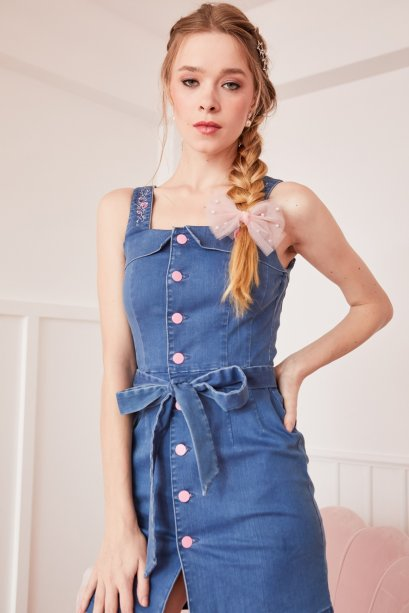 JR08 - Juliet's Rose Embroidered Denim Front Button Dress - In Stock Now