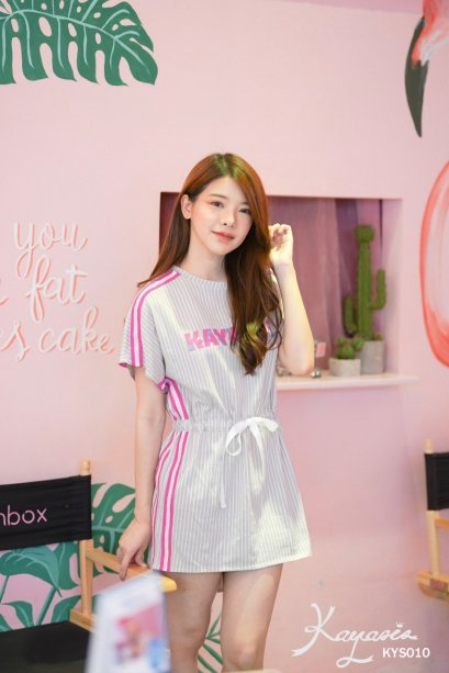 KYS010 Kayasis Stripe Dress - Grey/Pink - In stock  พร้อมส่ง