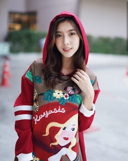 KYS018 A Girl in Bed Print over sized Hoodie - Red Print- In Stock Now