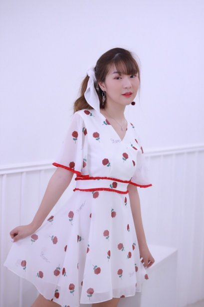 KYS031 - Rosey Print Flared Dress - In Stock Now