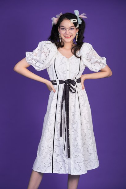 KYS033 - WISH UPON A STAR FRONT BUTTON LACE DRESS WITH STRING TIE - IN STOCK 5th Sep