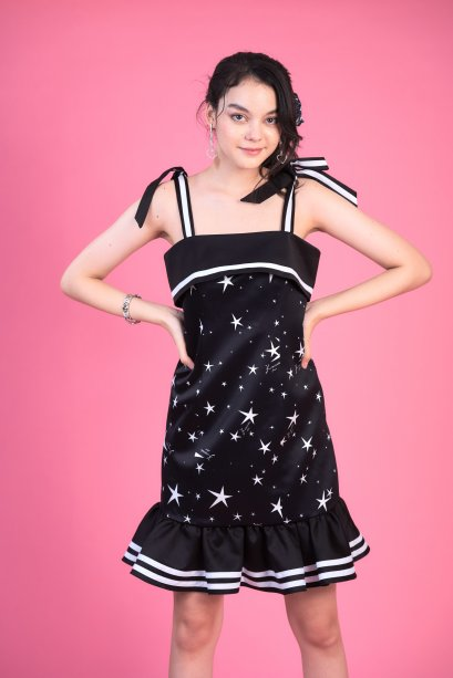 KYS046 - WISH UPON A STAR BOW-TIED STRAP WITH RUFFLE DRESS - IN STOCK NOW