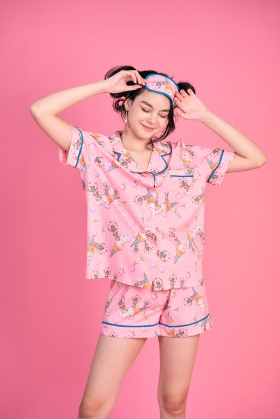 KYS051-PNK The Performer Print Silk Satin Pajamas Set with Sleeping Eye Mask