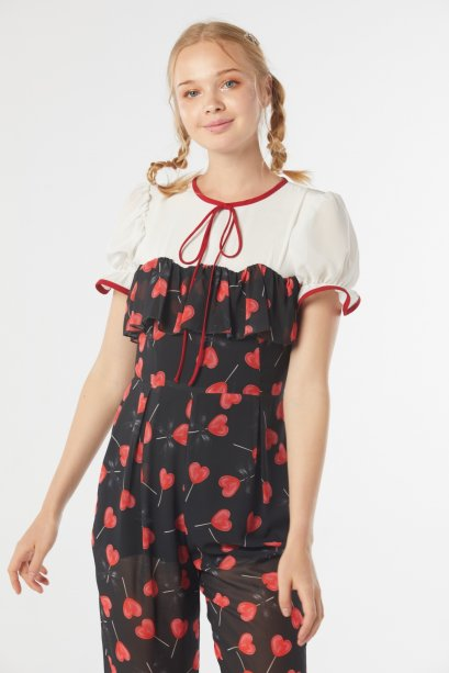 SR04-BK Secret Recipe Lollipop Print Front Ruffle Jumpsuit - In Stock Now