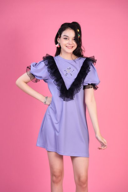 STR10 - WISH UPON A STAR EMBROIDERED PUFF SLEEVE DRESS - IN STOCK NOW