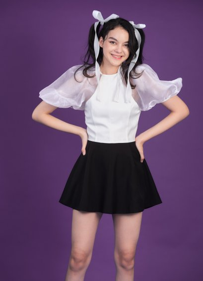 STR13 - WISH UPON A STAR PUFF SLEEVE SHORT PLAYSUIT