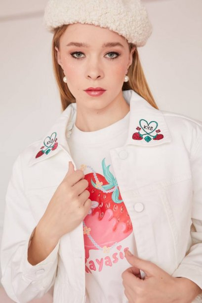 STW12 MY STRAWBERRY EMBROIDERED DENIM JACKET IN STOCK NOW