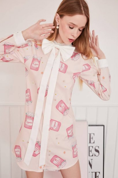 STW05 MY STRAWBERRY BOW-TIED PRINTED SHIRT DRESS IN STOCK NOW
