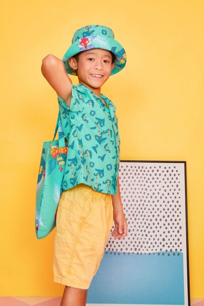 SD11- GR- Kids Hawaiian Banana Leaf Print Shirt - In Stock Now