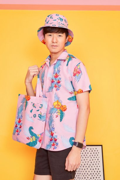 SD10-PNK- Unisex Hawaiian Orchid Print Shirt - In Stock Now