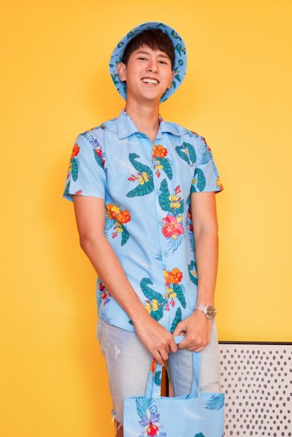 SD10-BLU- Unisex Hawaiian Orchid Print Shirt - In Stock Now