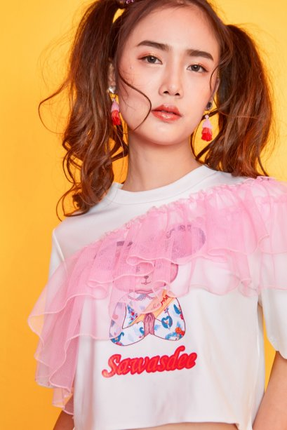 SD01-PNK-Sawasdee Mouse Crop Ruffle T-Shirt Pink - In Stock Now