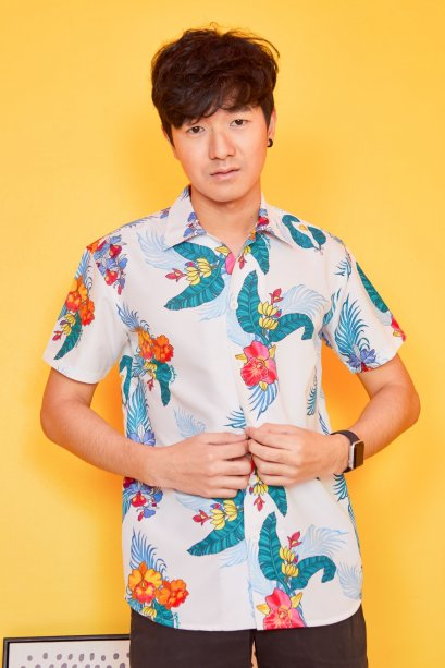 SD10-WH- Unisex Hawaiian Orchid Print Shirt - In Stock Now