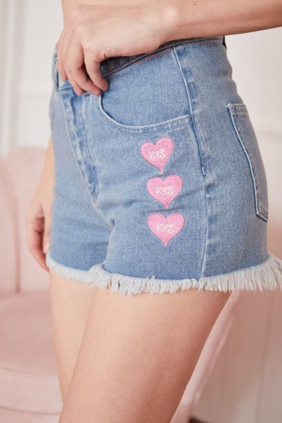 SD06 - Triple Heart Embroidered & Frayed Hem Denim Shorts - In Stock Now