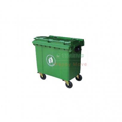 รถเข็นถังขยะ 4 ล้อสีเขียว จุ 1100 ลิตร  Happy Move