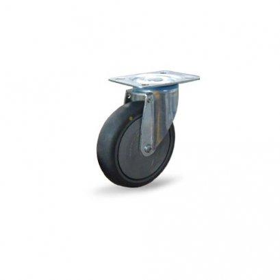 ลูกล้อยางเทา ป้องกันไฟฟ้าสถิตย์รับน้ำหนัก 100-150 กก.แบบแป้นหมุน