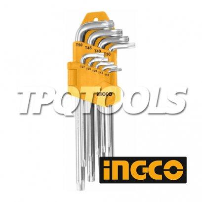 ประแจแอลหกเหลี่ยมหัวจีบ 9 ชิ้น (ยาว), (ยาวพิเศษ) INGCO-HHK13091, INGCO-HHK13092
