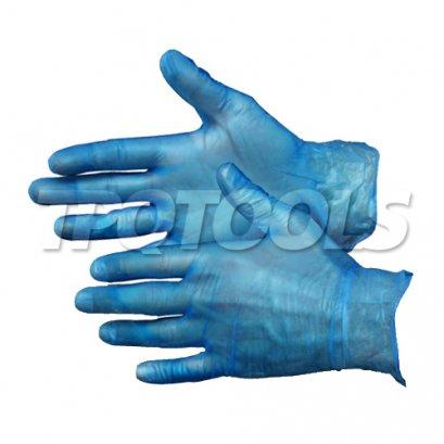 ถุงมือไวนิลสีฟ้าแพ็ค 100 ชิ้น