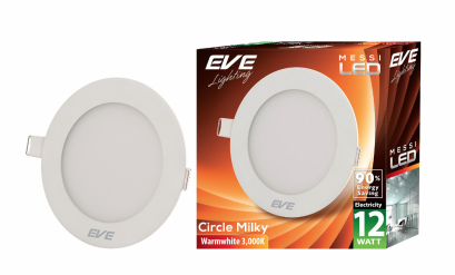 LED Downlight Messi Circle Milky-12W Warmwhite