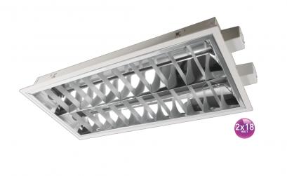 Recessed T/M 2x18 Louver Gap 0.6 mm Lamp LED T8 60 cm