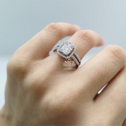 แหวนเพชรประกบ ล้อมเพชร ก้านคู่