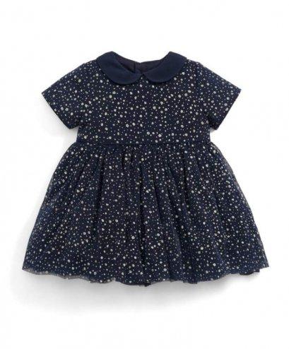 Glitter Mesh Dress Navy