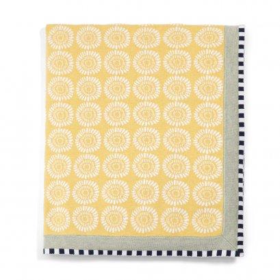 ผ้าห่มสีเหลืองลายดอกไม้ Sunflower Knitted Blanket