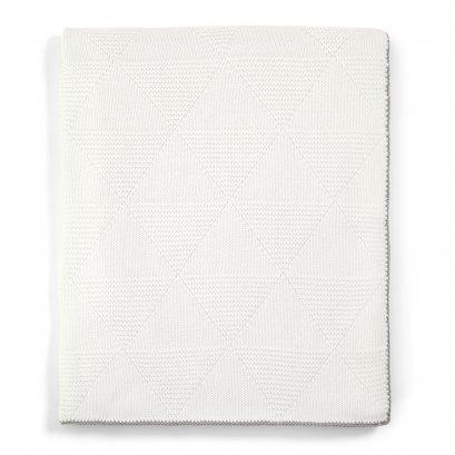 ผ้าห่มถักสีขาวพื้น Textured Knitted Blanket