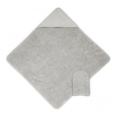 ผ้าเช็ดตัว ห่อตัว HOODED TOWEL พร้อมถุงมือถูตัว - GREY