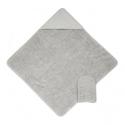 Hooded Towel & Mitt - Grey