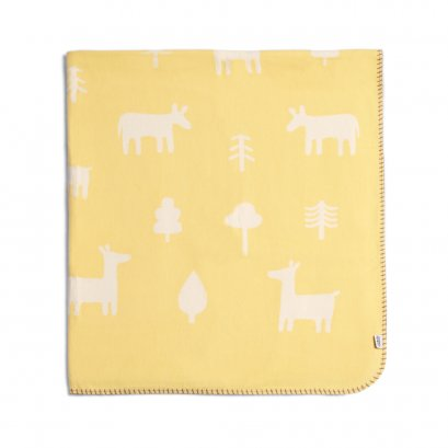 Nestling Large Woven Brushed Blanket - Yellow