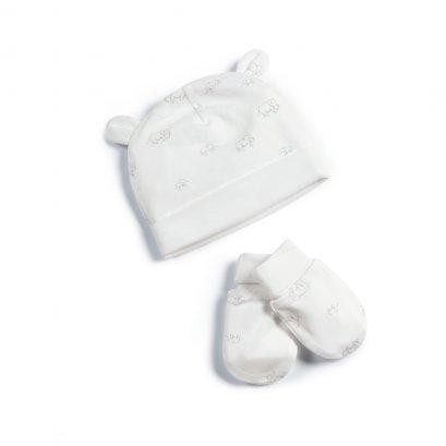 Elephant Print Hat & Mitts - 2 Piece Set