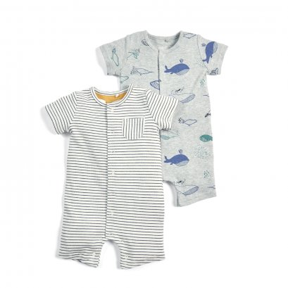 Whale Print Romper - 2 Pack (Size 0-3 / 3-6 / 6-9 / 9-12/ 12-18)