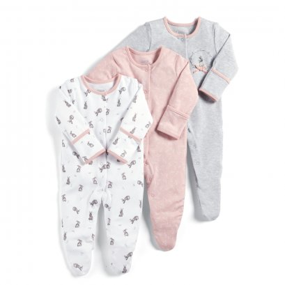 Flower Sleepsuits - 3 Pack (Size 0-3 / 3-6 / 6-9 / 9-12/ 12-18 /18-24)