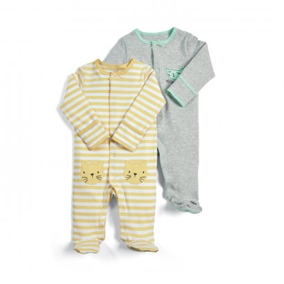 Cat Sleepsuits - 2 Pack (Size 0-3 / 3-6 / 6-9 / 9-12/ 12-18 /18-24)
