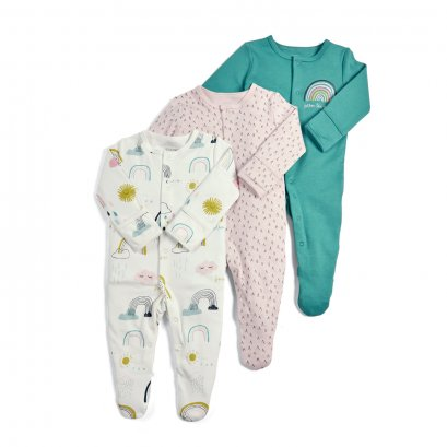 Rainbow Sleepsuits - 3 Pack