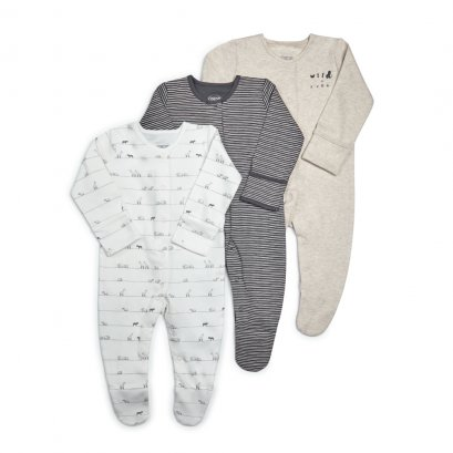 Wild & Free Jersey Sleepsuits - 3 Pack  (*รบกวนเช็ค SIZE / STOCK ที่ไลน์ :@mommories )